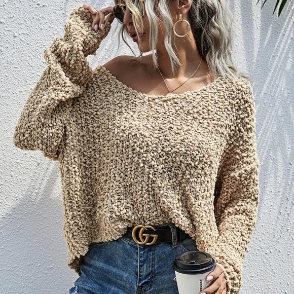 oversized off shoulder light camel knit sweater Boutique